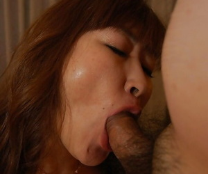 Fatty asian slut Keiko Chiba gets her hairy twat banged and creampied