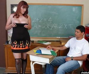 Chesty matured teacher Tru seducing student for sex in auditorium