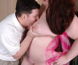 Mature fatty licks and sucks cock for cum eating after baring saggy boobs