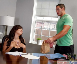 Latina chick Cassidy Banks and her hanging tits suck big dick on desk