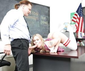 Barely forcible schoolgirl Dakota James weighty omnibus a blowjob in crave socks