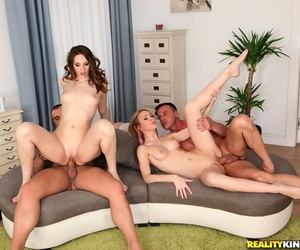 Wild foursome sex action with cock hungry sluts Ariadna and Alice Marshall