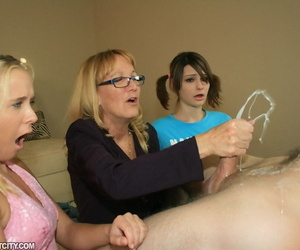 Of age blonde in glasses teaching her teen friends how to drub a obese horseshit