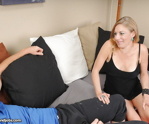 Steamy grown up blonde jerking a distressed cock for cum surpassing her smiley face