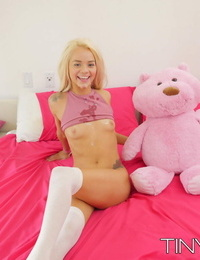 Young blonde girl in over the knee socks gets banged by a seasoned stud
