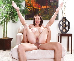 Top-heavy MILF blows and fucks a big boner with witness of her younger friend