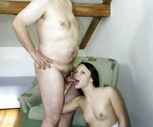 Cumshot action featuring unventilated bowels teen prosecution blowjob to an oldman