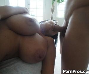 Big breasted brunette Ava Adams sucks off her massage therapist