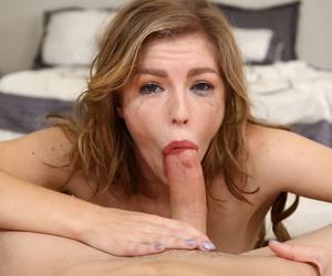 Deepthroat specialist Ella Nova slides a cock down her throat with ease
