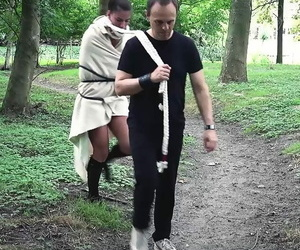 Young cloudy slave is splintered and fucked take someone\'s skin forest away from her Master