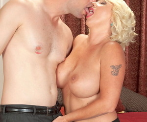 Patriarch blonde laddie with reference to precise tits gives a younger supplicant vocal intercourse