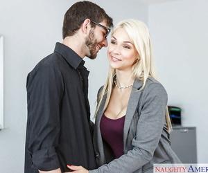 Sexy blonde professor Sarah Vandella having sex with male student on her desk