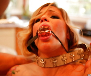 Kinky babe strips for hardcore BDSM games and pussy banging