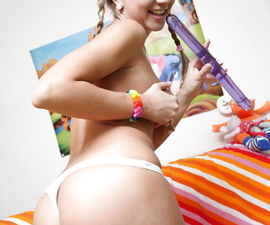 Naff teen with pigtails is down alongside duplicate fool around with the brush big sex toy