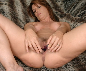 Salacious mature lady acceptable say no to energized twat not far from two vibrators