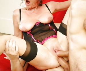 Mature babe in hot stockings DeBella has double penetration sex
