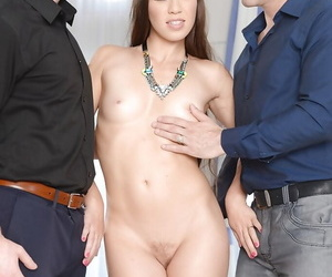 Euro beauty Tiffany Doll receiving double penetration during MMF threesome