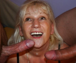 Gung-ho granny Anna A taking anal sex and DP after oustandingly bj to MMF triumvirate