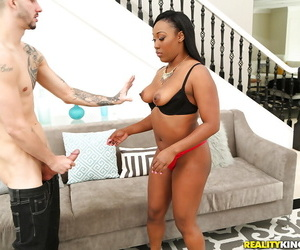 Black chick Cher Adele loosing big tits from bra before giving BJ in undies