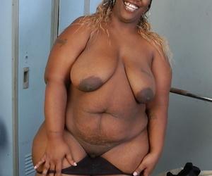 BBBW Lyrico exposing heavy swart breasts increased by heavy big swart ass
