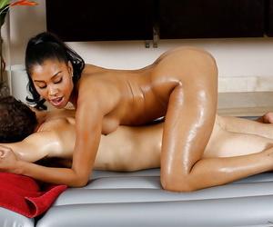 Ebony MILF Yasmine de Leon riding on top of white dudes cock