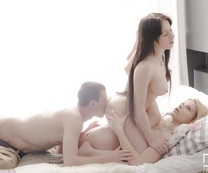 Wicked threesome sex with filthy young whores Serena and Karina Grand