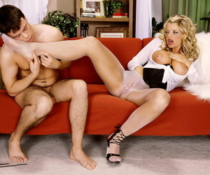 European grown-up cutie Vicky Vette shows her legs in the matter of white pantyhose