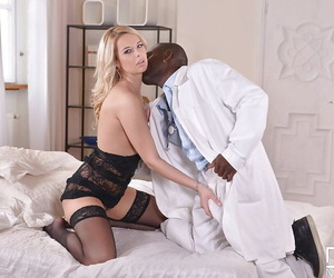 Euro blonde Nikky Dream giving massive black cock interracial blowjob