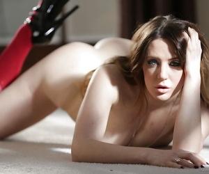 Pretty Euro spread out Samantha Bentley modeling singular in knee swaggering socks