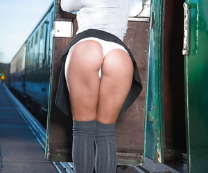 Sexy Euro schoolgirl Amirah Adara gets naked outside in public place