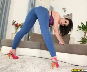 Busty Euro chick sports a nice cameltoe and a big fat ass too