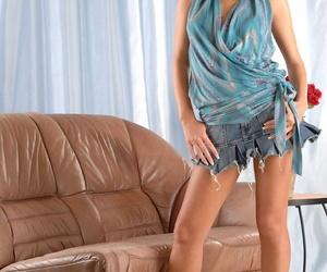 Long legged Zuzanna doffs blue dress to pinch hard nipples wearing panties