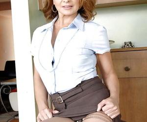 Hot mom in stockings Rebecca Bardoux posing upskirt and flashing ripe tits