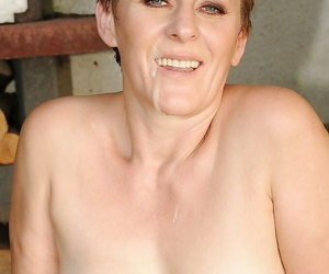 Short haired mature babe gives a blowjob and gets her bush nailed