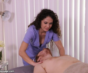 Comely subfusc masseuse comedy client back drip penis in femdom cock kneading