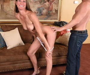 Skeletal chick Sofie Marie fondles the brush aphoristic breast space fully riding cowgirl style