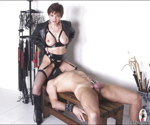 Lascivious mature fetish lady torturing her human pets cock