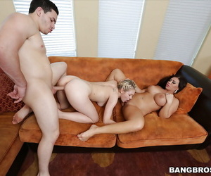 Amazing mature Alexa Pierce giving Alli Rae a lesson in cock sucking