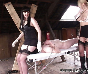 Lecherous of age femdoms shot at some BDSM enjoyment with their male pets
