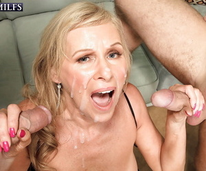 Super granny Bethany James bonking 2 younger bodies with jizz facial finale