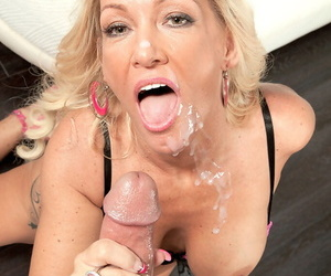 Hot older blonde Barbi Banks sucks a guys cock off after seducing him