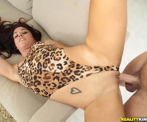 Brunette Latina Misti Love and her pierced pussy riding long dick