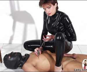 Curvy full-grown lady relating to latex gadget is into hot femdom action