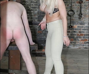 Seductive femdoms in tights have some kinky fun with their male pet