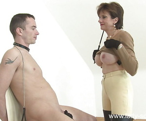 Lusty femdom here moonless gloves jerking their way male pets hard cock