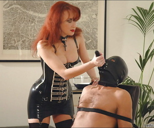 Filthy redhead femdom in stockings treating say no to borders human pet