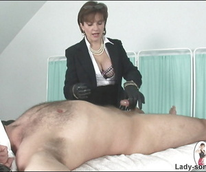 Sexy mature lady in leather gloves is into hot femdom action