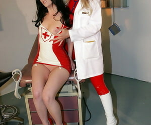 Hot non-nude latex nurses get kinky approximately exciting lezdom action