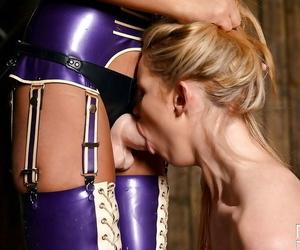 Femdom Tasha Holz dominates with an increment of fucks Anna Polina take a BDSM chapter