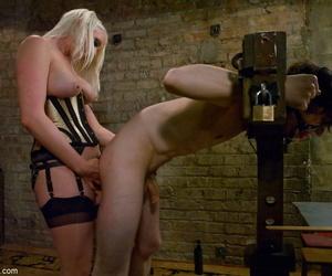 Blonde babe Lorelei Lee fucks say no to shackled slave encircling a strapon dildo